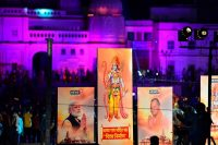 Banners with the images of Indian Prime Minister Narendra Modi, left, Lord Ram and Chief Minister of Uttar Pradesh Yogi Adityanath on the eve before the groundbreaking ceremony of the proposed Ram Temple in Ayodhya. (Sanjay Kanojia/AFP via Getty Images)