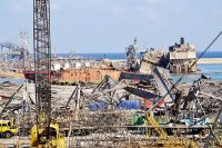 Enorme explosion au port de Beyrouth, Liban, jeudi 6 août 2020. Photo : Bedros Sakabedoyan