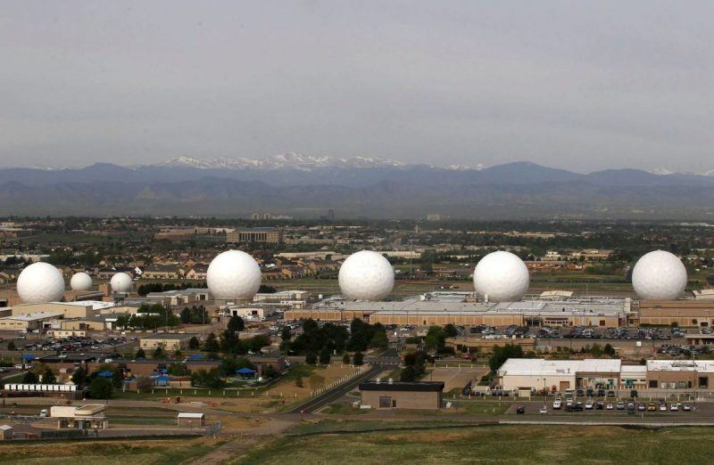 "The ""golf balls"" at Buckley Air Force Base in Aurora, Colo., as seen in 2012. (Larry Downing/Reuters)"
