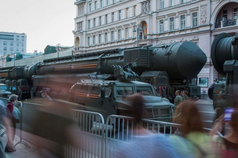 A vehicle transports a RS-24 Yars strategic nuclear missile along a street during a Victory Day rehearsal in Moscow on June 17. Russian President Vladimir Putin postponed the traditional May 9 parade because of the coronavirus. (Andrey Rudakov/Bloomberg)