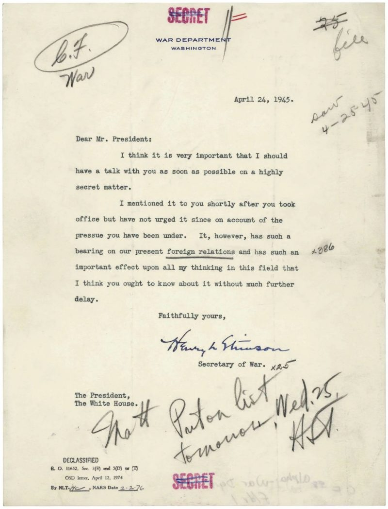 Letter from Secretary of War Henry Stimson to President Harry S. Truman, April 24, 1945. (National Archives)