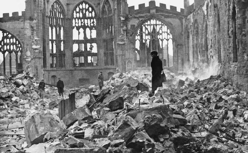 Coventry Cathedral in the wake of an air raid in 1940. (Universal History Archive/Getty Images)