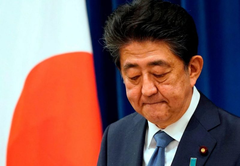 Prime Minister Shinzo Abe of Japan announced his resignation at a news conference on Friday. Credit Pool photo by Franck Robichon