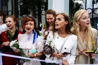 Women, many of them dressed in white in solidarity with the Belarusian people, protest outside the Belarusian embassy in Moscow on Saturday. (Dimitar Dilkoff/AFP/Getty Images)