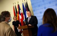 US Secretary of State Mike Pompeo (centre) speaks to reporters following a meeting on Iran at the UN Security Council, 20 August 2020 in New York (Mike Segar/pool/AFP via Getty Images)