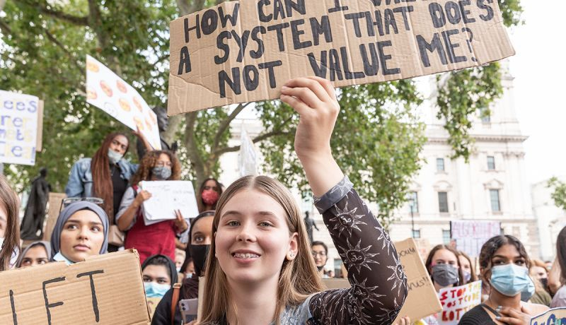 Youth protests at Parliament square against a new exam rating system which has been introduced in British education system - London, England on August 16, 2020. Photo by Dominika Zarzycka/NurPhoto via Getty Images.