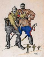 Caricatura del ilustrador judío polaco Arthur Szyk sobre el pacto Hitler-Stalin.