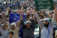 Activists of Ahle Hadees Ittehad Council protest during an anti-Shiite rally in Karachi, Pakistan, on Sept. 20. (Rizwan Tabassum/AFP/Getty Images)