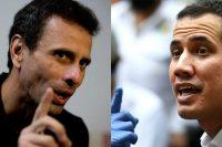 Dos líderes opositores de Venezuela. A la izquierda, Henrique Capriles en 2018; a la derecha, Juan Guaidó en 2020. Credit Fernando Llano/Associated Press