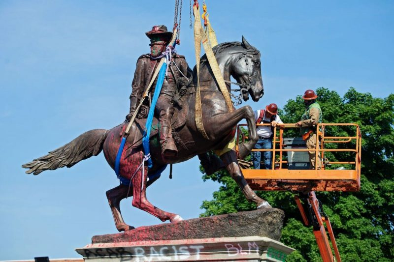 Ryan M. Kelly/AFP via Getty Images A statue of Confederate General J.E.B. Stuart is removed from Monument Avenue in Richmond, Virginia, July 7, 2020