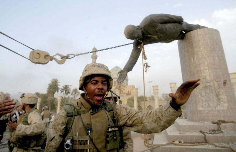 Sean Smith/Getty Images US Marines pulling down a statue of Saddam Hussein in the center of Baghdad, Iraq, April 9, 2003