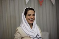 Iranian lawyer Nasrin Sotoudeh smiles at her house in Tehran in 2013. (Behrouz Mehri/AFP/Getty Images)