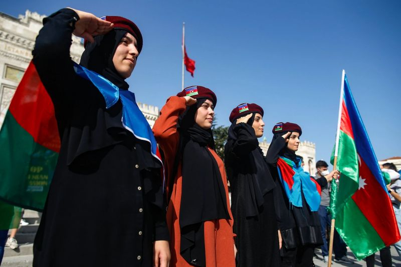 Demonstrators in Istanbul this month showed support for Azerbaijan, which the Turkish government backs in the country's conflict with Armenia. Credit Emrah Gurel/Associated Press
