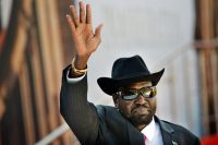 South Sudan's President Salva Kiir arrives for the swearing-in ceremony of Cyril Ramaphosa at Loftus Versfeld stadium in Pretoria, South Africa, on May 25, 2019. (Jerome Delay/AP)