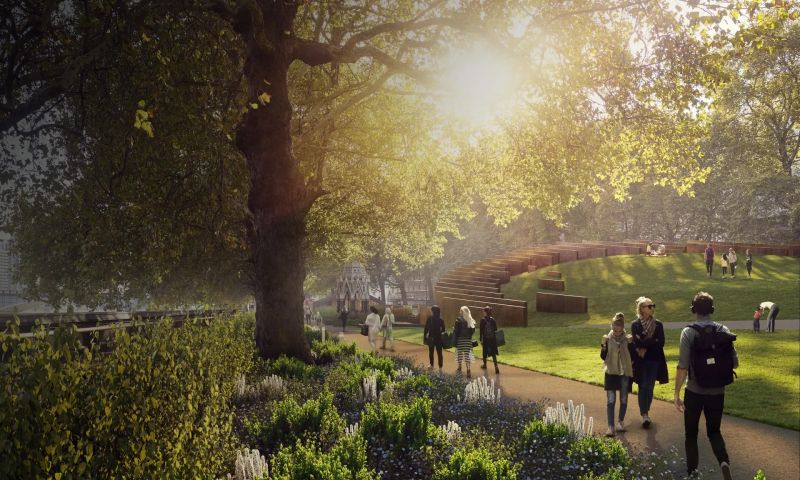The proposed UK Holocaust Memorial and Learning Centre in Victoria Tower Gardens, London. Photograph: Hayes Davidson