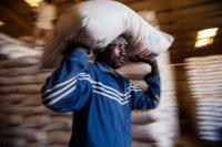 Un trabajador del Programa Mundial de Alimentos carga un saco de alimentos en El Fasher, Darfur.UN Photo/Albert Gonzalez Farran