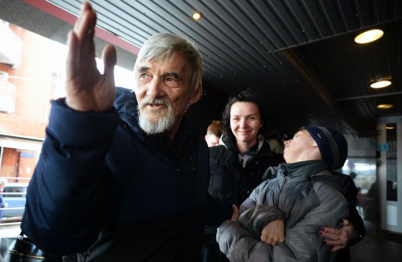 Olga Maltseva/AFP via Getty Images Gulag researcher and rights activist Yuri Dmitriev following his first trial, in which charges of child pornography were dismissed, Petrozavodsk, Russia, April 5, 2018