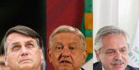 Desde la izquierda: Jair Bolsonaro de Brasil, Andrés Manuel López Obrador de México y Alberto Fernández de Argentina. Credit Adriano Machado/Reuters; Marco Ugarte/Associated Press; EPA vía Shutterstock