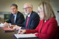 Stefan Rousseau/PA Images via Getty Images Then Labour Party leader Jeremy Corbyn (center), flanked by shadow cabinet members Keir Starmer and Rebecca Long-Bailey, at a meeting about Brexit in Parliament, London, March 2019; since then, Starmer has become party leader, while Long-Bailey has been demoted and Corbyn has been suspended, both over matters relating to Labour's problems with anti-Semitism
