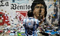 A memorial to Diego Maradona in Buenos Aires, Argentina, November 2020. Photograph: Ricardo Moraes/Reuters