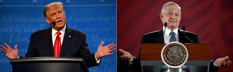 A la izquierda, el presidente de Estados Unidos, Donald Trump; a la derecha, el presidente de México, Andrés Manuel López Obrador. Credit Jim Watson/Agence France-Presse — Getty Images