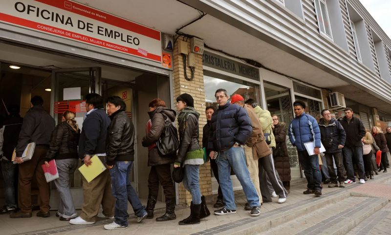Jobseekers queue outside a state employment centre in Madrid. Photograph: Bloomberg/Bloomberg via Getty Images