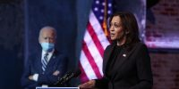 Vice president-elect Kamala Harris addresses the media on November 10, 2020 at the Queen Theater in Wilmington, Delaware. Photo by Joe Raedle/Getty Images.
