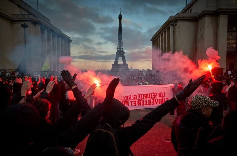 Protestors demonstrate against the global security law bill at Place du Trocadéro on Nov. 21 in Paris. (Kiran Ridley/Getty Images)