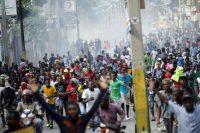 Manifestation le 23 novembre 2018 à Port-au-Prince, soit dix jours après le massacre de La Saline. Photo A. M. Casares. Reuters