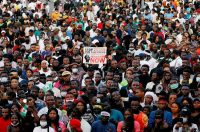 Demonstrators gather during a protest last month in Lagos, Nigeria, over alleged police brutality. (Temilade Adelaja/Reuters)