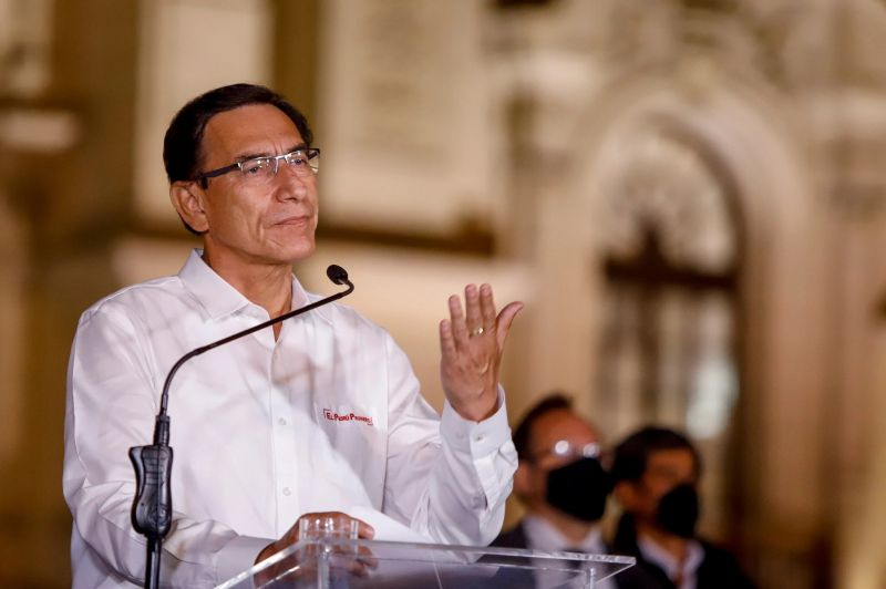 Martín Vizcarra se dirigió a la nación después de que el Congreso votará a favor de su destitución el 9 de noviembre. Credit Presidencia de Perú vía Reuters