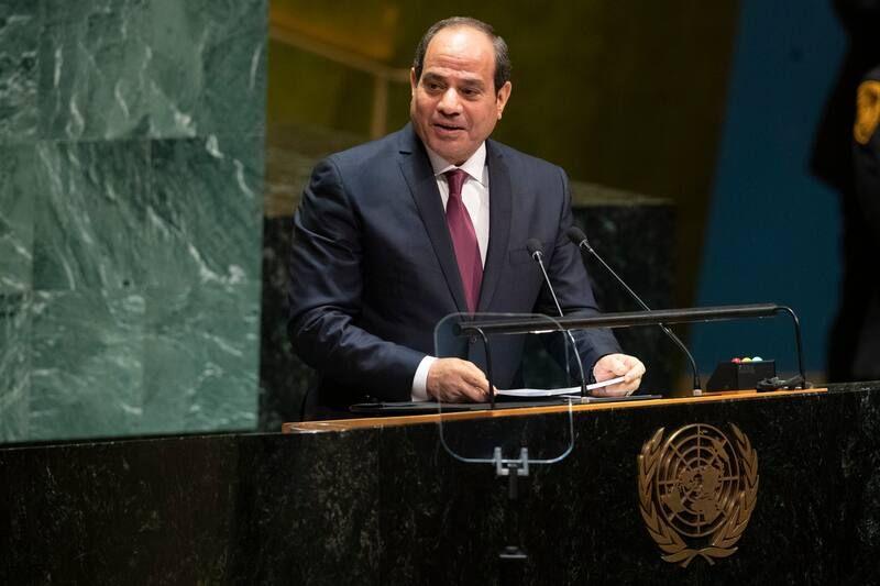 Egyptian President Abdel Fatah al-Sissi at the United Nations in New York in September 2019. (Mary Altaffer/AP)
