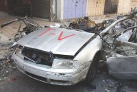 Jehad al-Saftawi A vehicle belonging to the Gaza-based press outlet Media 24 destroyed by a missile fired from an Israeli aircraft, killing its driver and injuring eight others nearby, Gaza, July 10, 2014