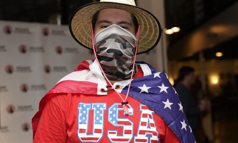 A man attending an event hosted by the Miami Young Republicans and Latinos for Trump. Photograph: Lynne Sladky/AP