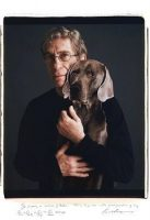 William Wegman and a cutout of one of his dogs, Bobbin, in 2008. Credit Tim Mantoani