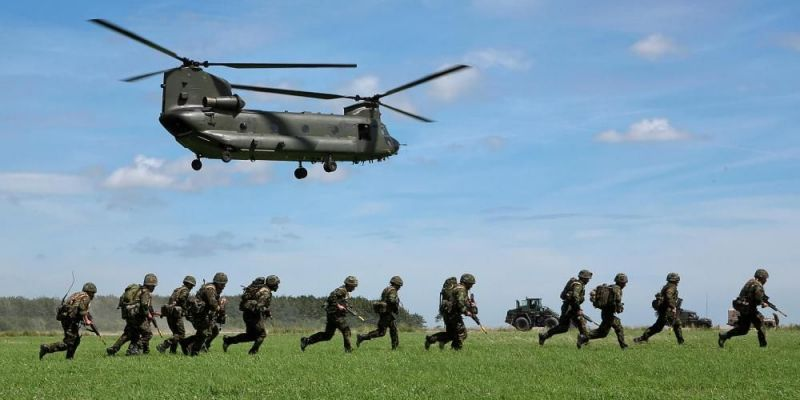 Mission rehearsal exercise by the 3 Commando Brigade (Royal Marines) on Salisbury Plains, Wiltshire, UK. Photo by Leon Neal/AFP via Getty Images.