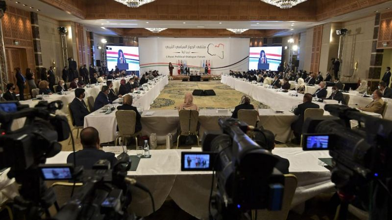 UN acting envoy to Libya Stephanie Williams speaks at the opening of the Libyan Political Dialogue Forum hosted in Gammarth on the outskirts of the Tunisian capital, with the attendance of Tunisian President Kais Saied (C), on 9 November 2020. FETHI BELAID / AFP