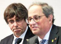 Los expresidentes de la Generalitat Carles Puigdemont, a la izquierda, y Quim Torra, en 2019. Credit Stephanie Lecocq/EPA vía Shutterstock