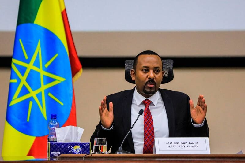 Ethiopian Prime Minister Abiy Ahmed speaks in Addis Ababa, Ethiopia, on Nov. 30. (Amanuel Sileshi/AFP/Getty Images)