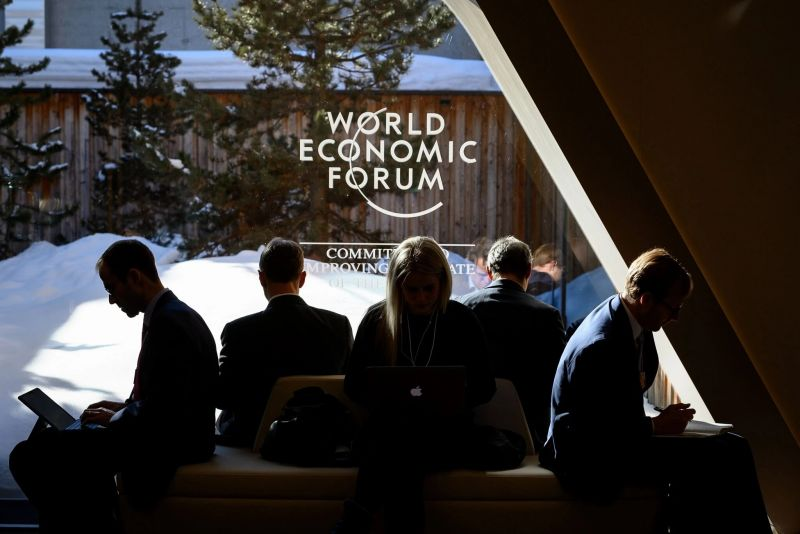 """Participants at the World Economic Forum's meeting in Davos, Switzerland, last January. Next month's iteration will offer digital-only """"Davos Dialogues."""" Credit Fabrice Coffrini/Agence France-Presse — Getty Images"""