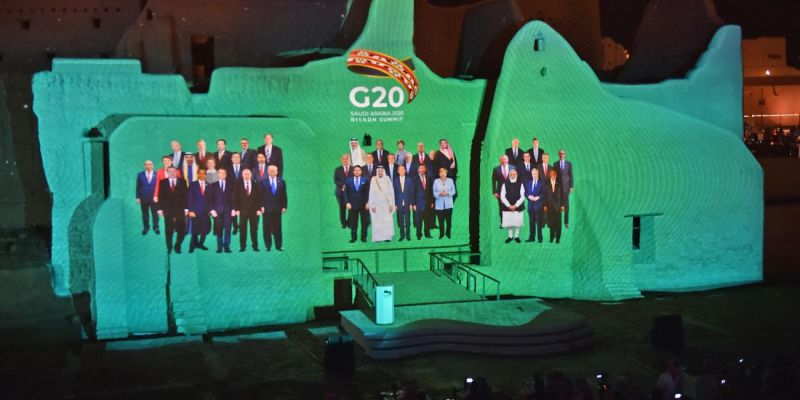 G20 leaders projected at the historic site of al-Tarif on the outskirts of Riyadh ahead of the G20 virtual summit in Saudi Arabia in November 2020. Photo: Getty Images.