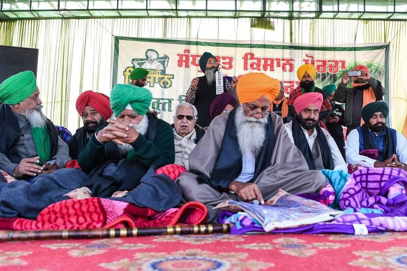 Sikh farmers during a protest at the Delhi-Haryana state border in Singhu on Monday. (Prakash Singh/AFP/Getty Images)