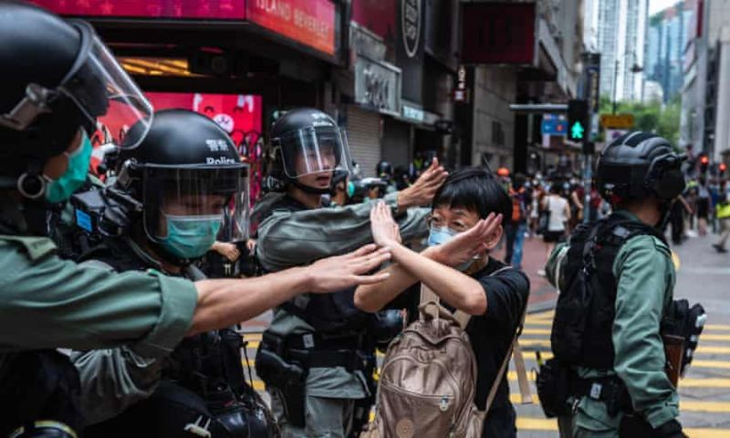 'In Hong Kong, there's no denying that political life is severely under threat.' A protester attempting to march in opposition to the national security law, in May. Photograph: Aidan Marzo/SOPA Images/Rex/Shutterstock