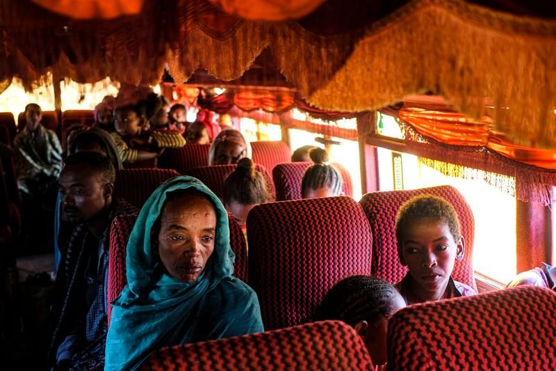 Refugees from the Tigray region of Ethiopia head to a refugee camp in Hamdayet, Sudan. (Byron Smith/Getty Images)