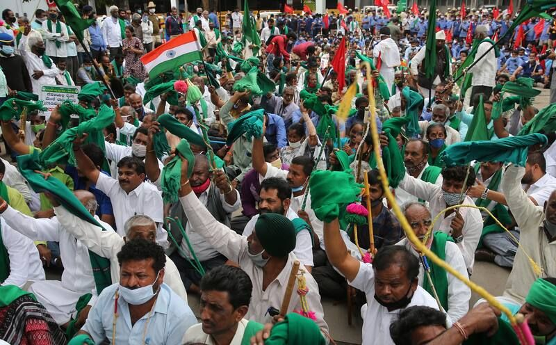 Indian farmers gathered to support the ongoing protest against new agricultural laws. (Jagadeesh Nv/EPA-EFE/REX/Shutterstock)