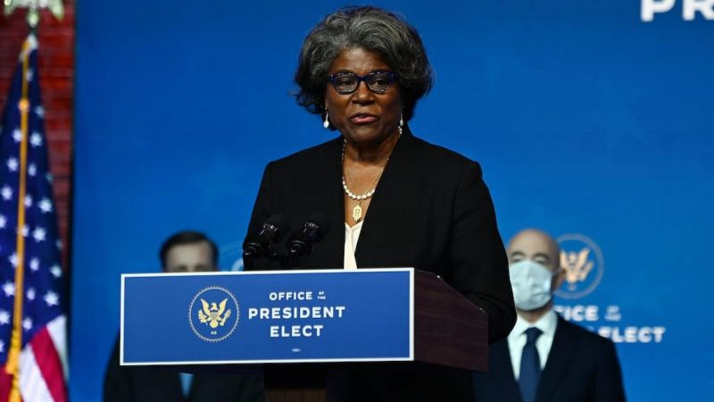Nominated US Ambassador to the United Nations Linda Thomas-Greenfield participates as US President-elect Joe Biden speaks during a cabinet announcement event in Wilmington, Delaware, on November 24, 2020. CHANDAN KHANNA / AFP