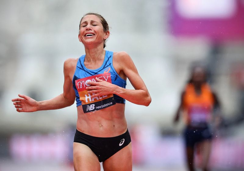 Sara Hall finishing second in the 2020 London Marathon. Credit Pool photo by Richard Heathcote