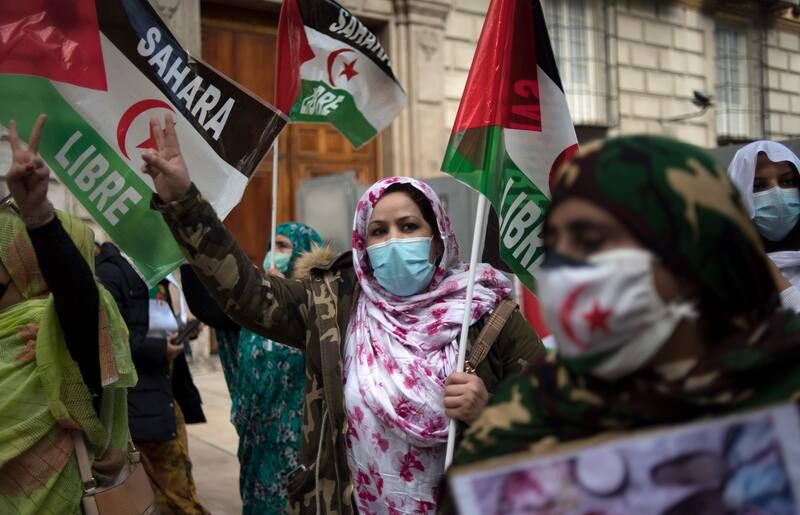 A demonstration in Malaga, Spain, last month in support of Sahrawi rights in Western Sahara, a former Spanish colony. (Jorge Guerrero/AFP/Getty Images)