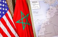 U.S. and Moroccan flags next to a map of Morocco recognizing the territory of Western Sahara. (Str/AFP/Getty Images)