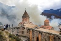 Dadivank Monastery is one of the hundreds of Armenian churches, monuments and carved memorial stones that will come under the control of predominantly Muslim Azerbaijan according to a cease-fire agreement reached this month. Credit Sergei Grits/Associated Press